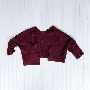 Brandy Melville burgundy cropped shrug cardigan